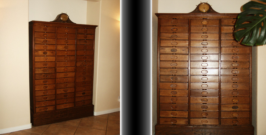 Before & After of an antique wood employee inbox