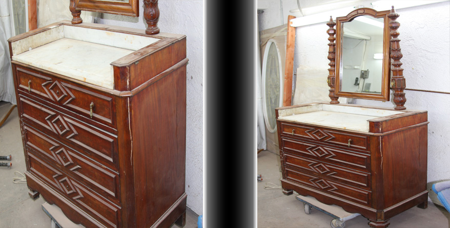 Before & After of a wood dresser