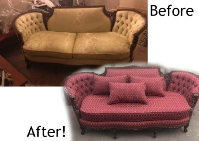 Antique sofa repair and fabric restoration.
