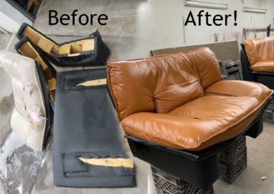 Before and after of leather repair job on love sofa.